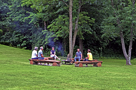 Outdoor fire ring and log seating at the Baladerry Inn, Gettysburg